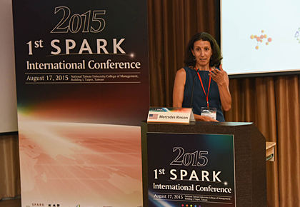 Professor of Medicine Mercedes Rincon, Ph.D., presents on UVM's initiative at the first SPARK International Conference in Taipei, Taiwan.