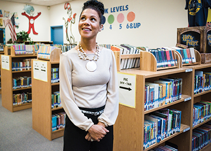 Shawna Wells in an elementary school library