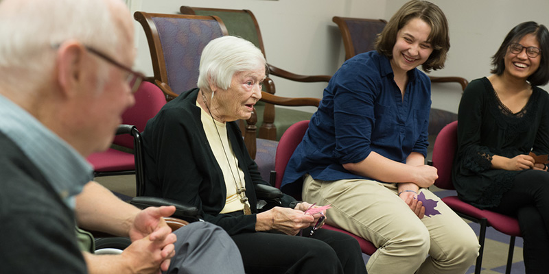 UVM nursing students with seniors in service-learning course
