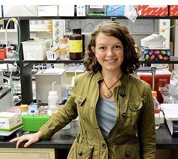 Estelle Spear in her lab