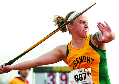 Nika Ouellette throwing javelin