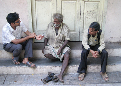 Srinivas Venugopal interviewing people on the streets of Chennai India