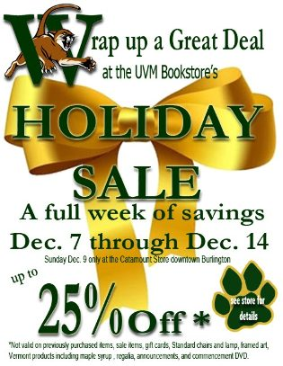 UVM Bookstore Holiday Sale