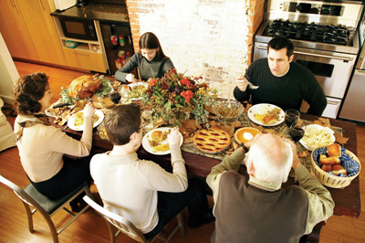 Family eating Thanksgiving meal