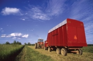 tractor towing farm wagon
