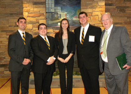 UVM's team: Jake Webber, Tom Bazzano, Liz Bernier, Kyle DeVivo and coach Dave Mount