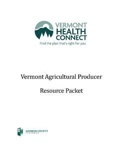 cover of vermont health connect ag producer resource packet