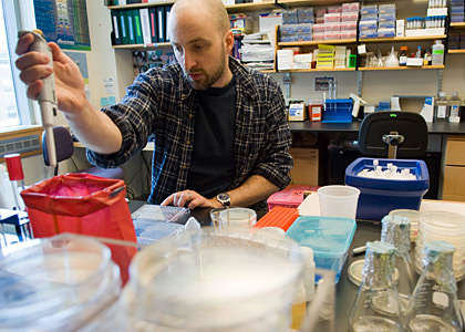 Assistant Professor of Microbiology and Molecular Genetics Matthew Wargo, Ph.D., works in his UVM lab.