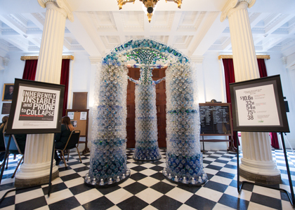 bottled water sculpture