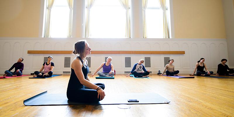 yoga class in ira allen chapel
