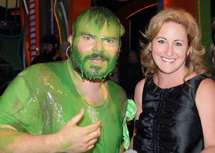 Cyma Zarghami with slimed host Jack Black