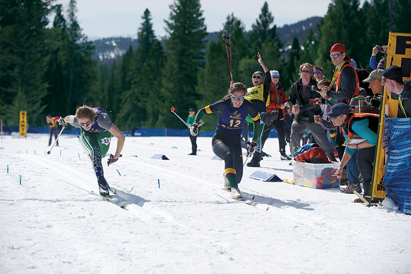 Two skiers race to finish line