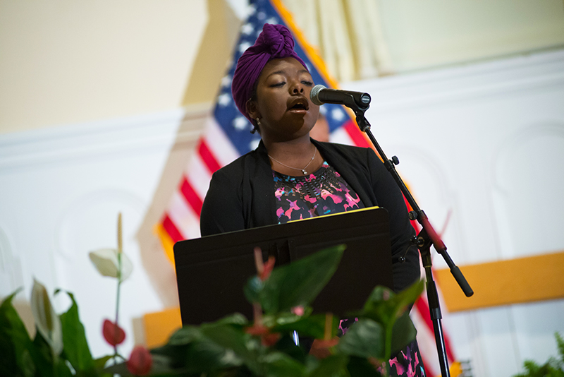 Tynesha Mccullers '17 sings at MLK Celebration