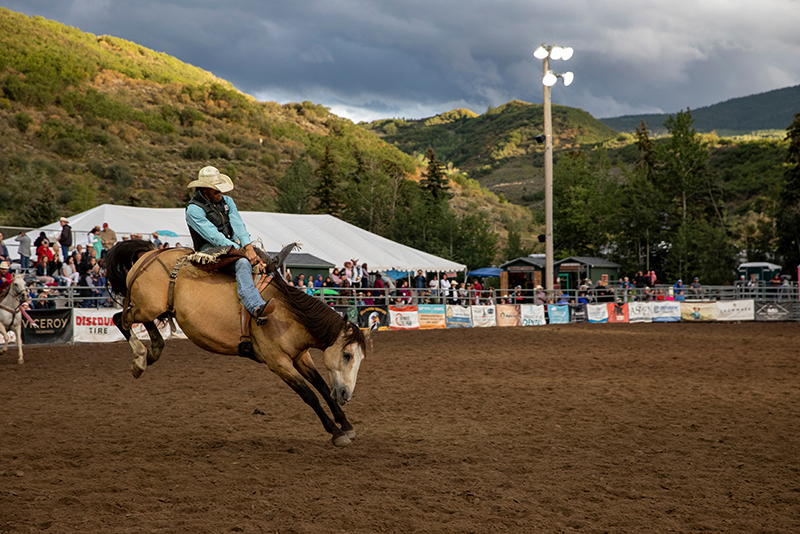 Rider on a horse at a rodeo