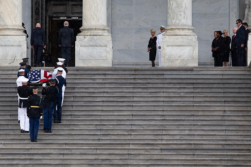 Sen. McCain's casket travels up steps at memorial service