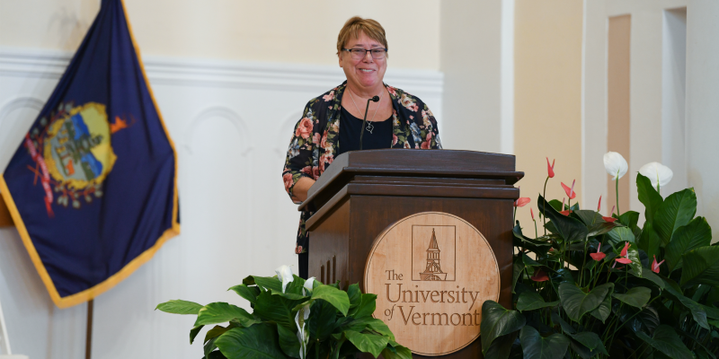 Donna MacDonald '74 delivered the keynote. (photo: David Seaver)