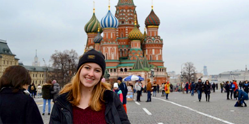 Emily Bruggeman at the Red Square in Moscow.
