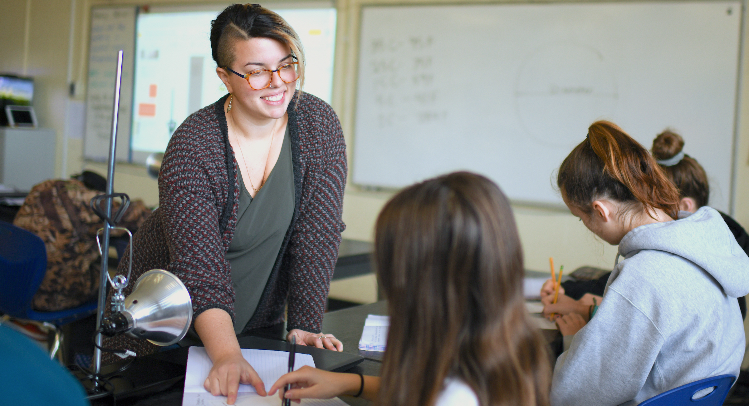 Erica Indiano student teaching at Hunt Middle School in Burlington.