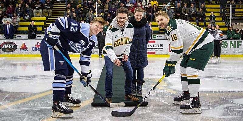 Ethan Foley drops the puck at Hockey's SGA Night in 2018.