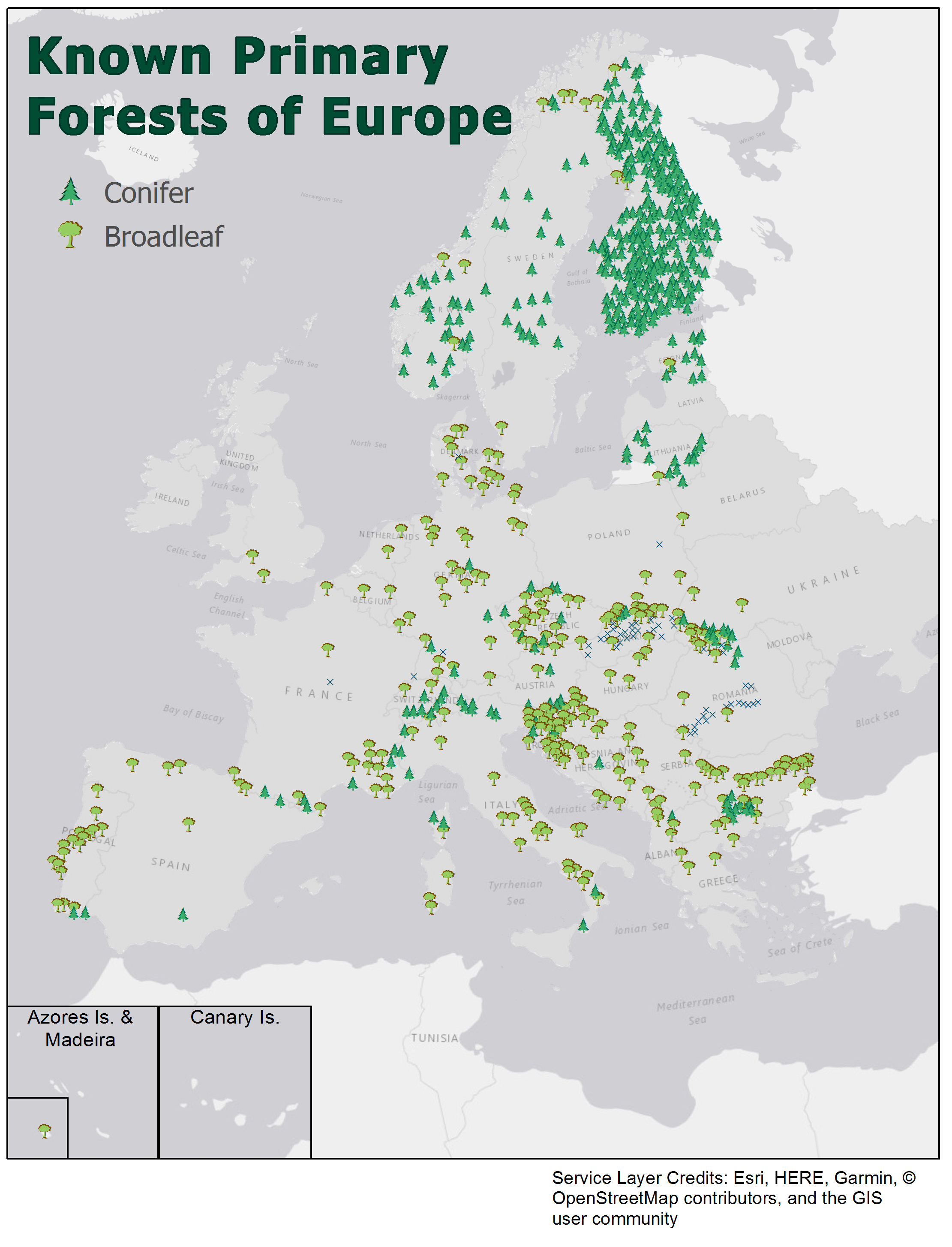 Map: Europe's Primary Forests