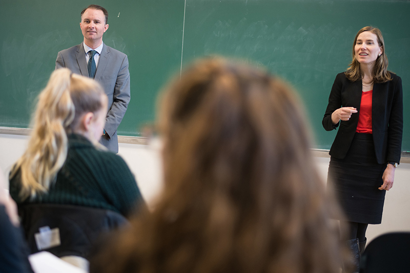 T.J. Donovan and Charity Clark in University of Vermont classroom