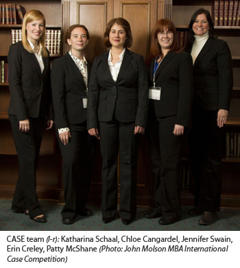 CASE team (l-r): Katharina Schaal, Chloe Cangardel, Jennifer Swain, Erin Creley, Patty McShane (Photo: John Molson MBA International Case Competition)