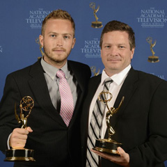 Jon Erickson and his son win Emmy Awards.