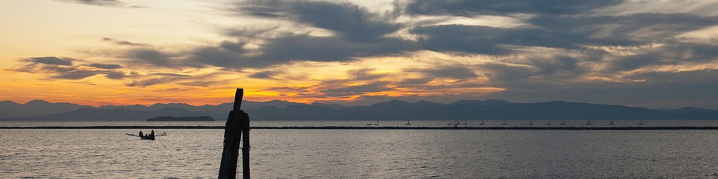 Sunset view of Lake Champlain