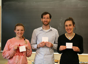 Winners of Annual RGSA Com-PIE-tition from left: Maddy Morgan, Jeff O'Donnell, and Laura Yayac. Tyler Goeschel missing.