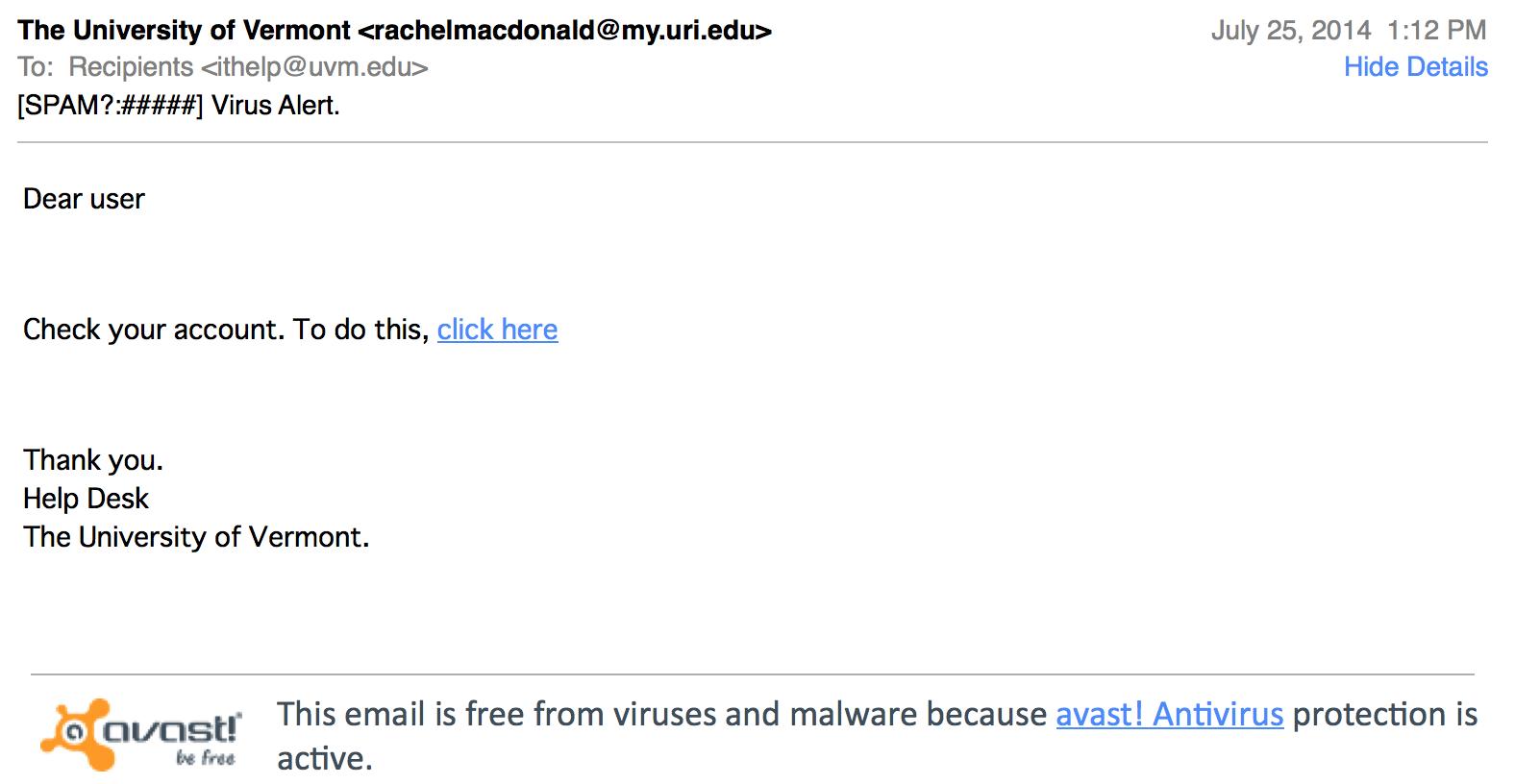 """Virus Alert"" phishing email"