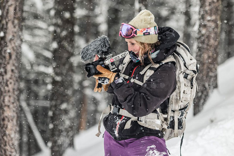 Documentary filmmaker Hilary Byrne shoots footage in the snow.
