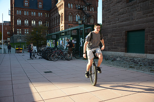 Unicycling student