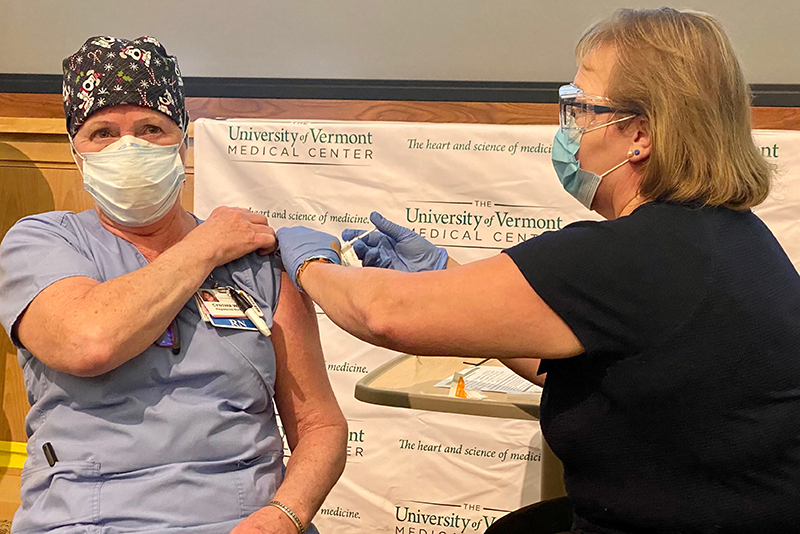 Tuesday, December 15, emergency department nurse Cindy Wamsganz, RN, was the first person in the State of Vermont to receive the vaccine