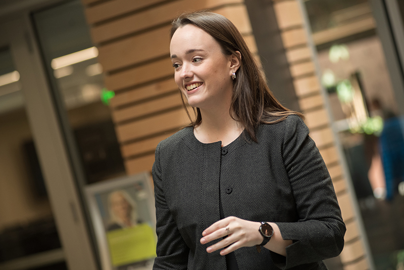 Abby Collins, a UVM business student, in Ifshin Hall