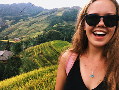 Avery on rice terrace in China