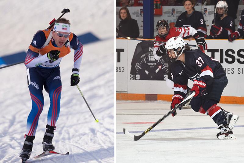 Lowell Bailey sking; Amanda Pelkey playing hockey