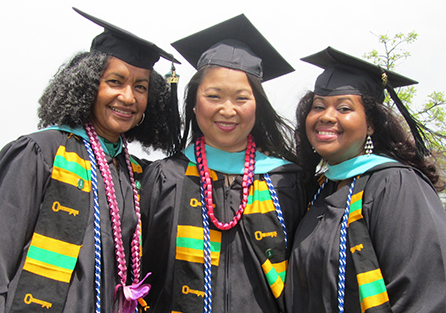 left to right: Beverly Colston, Maria Dykema Erb, and Monique Swaby on graduate day