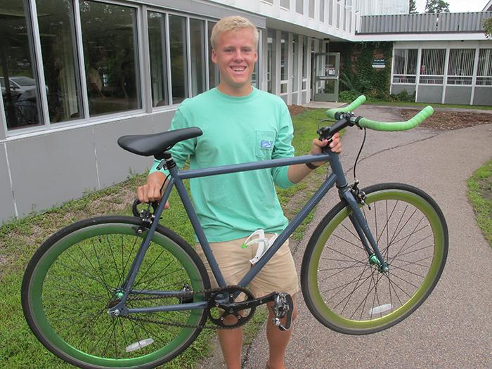 student and bike