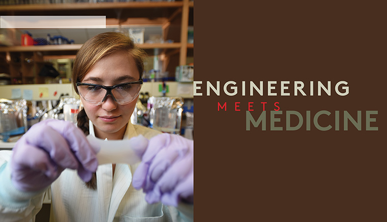 Student Kiki Cunningham in Professor Rachael Oldinski's lab