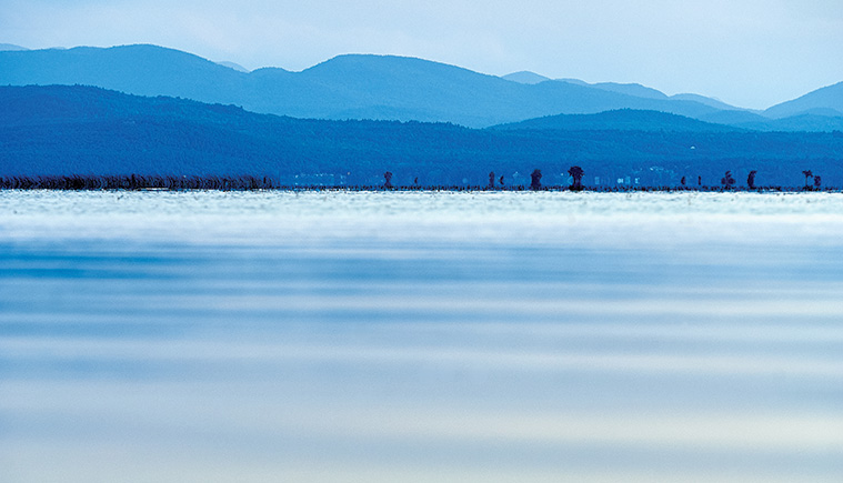 lake champlain in shades of blue