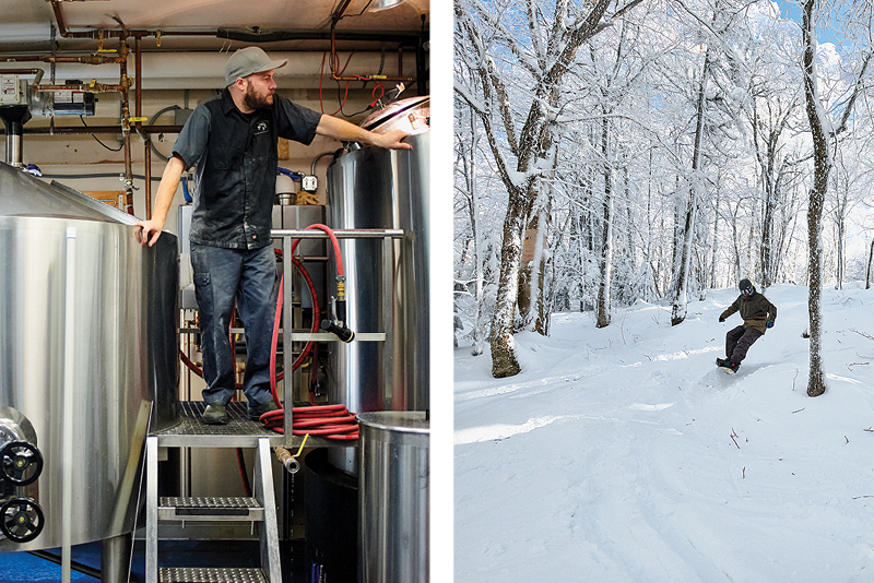 man standing by large stainless steel beer tanks at a brewery. and snowbarder coming downhil