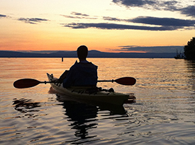 Brian kayaking on Lake Champlain