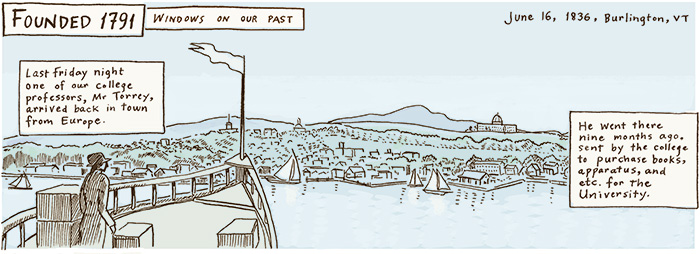cartoon depicting Professor Torrey returning by ship to Burlington with a load of books for the library brought from Europe. Boat is entering Burlington bay and the scene is narrated by quotations from a student's letter describing the scene.