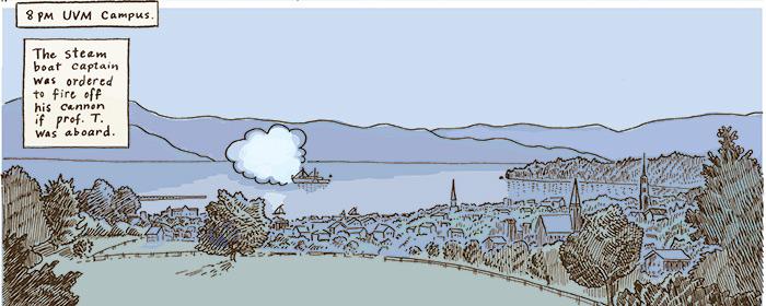 cartoon of the ship in Burlington bay seen from shore.
