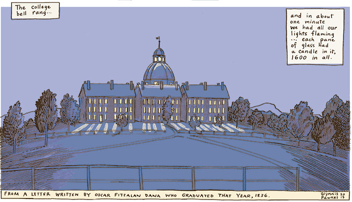 Cartoon of Old Mill in the evening with all the windows lit up to welcome the professor home.