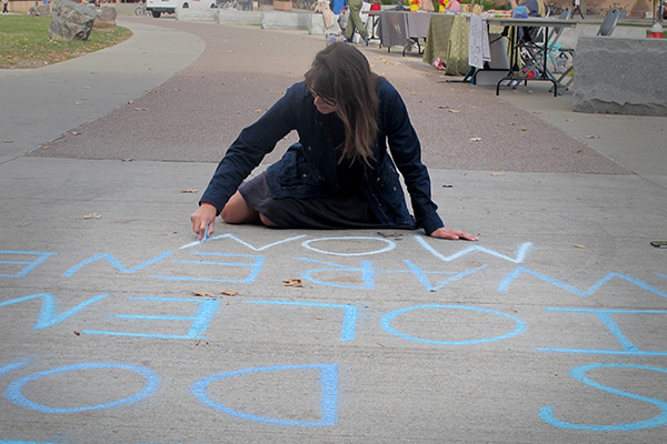 Chalking outside the Davis Center