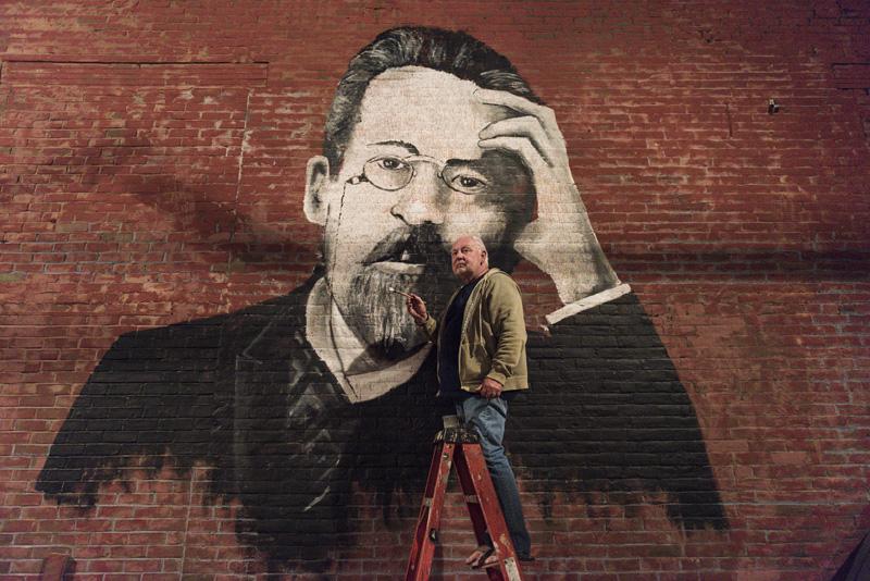 Jeffrey Modereger painting Chekhov mural