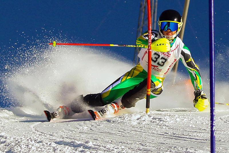 Connor Wilson skiing