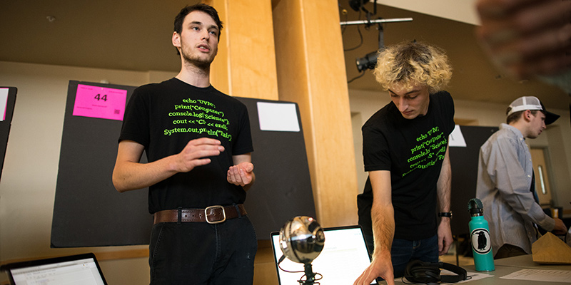 Students demonstrate their sound project at the Computer Science Fair