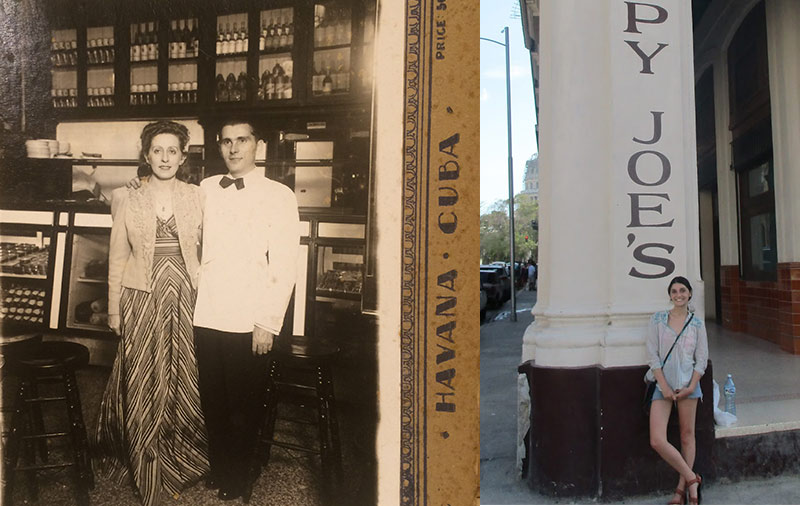 Old photo of Aiden's grandparents with photo of Aiden at Sloppy Joe's